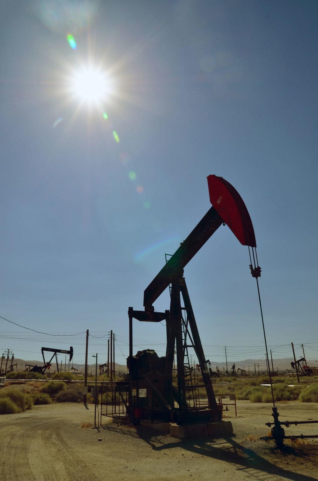 View of oil fracking equipment